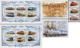 Nicaragua - 1998 - Nicaragua Honours The Railway - Mint Stamp Set + 2 Sheetlets + 2 Souvenir Sheets - Nicaragua