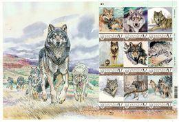Ukraine 2019, Fauna, Wolves, Sheetlet Of 9v - Ukraine