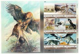 Ukraine 2019, Art, Falcon, Wolves, Hunting, Sheetlet Of 9v - Ukraine
