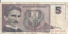 YOUGOSLAVIE 5 NOVIH DINARA 1994 VF P 148 - Yougoslavie