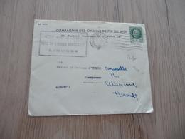 Lettre France Perforé Pub Compagnie Des Chemins De Fer Du Midi 2 Francs Vert Pétain Pour Celleneuve 1943 - France