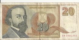 YOUGOSLAVIE 20 NOVIH DINARA 1994 VF P 150 - Yougoslavie