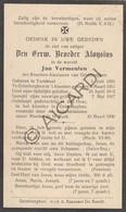 Doodsprentje Priester/Prêtre Broeder Alonsius/ Jan Vermeulen °1891 Turnhout †1930 Grimbergen  (B197) - Obituary Notices