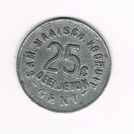 &-   SAM.MAATSCH. VOORUIT  25 C DEELJETON  GENT  1880 - Noodgeld