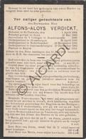 Doodsprentje Priester/Prêtre Alfons-Aloys Verdickt °1864 Sint Pauwels †1913 Ruyen/Ruien-Kluisbergen-Geraardsbergen(B198) - Obituary Notices