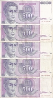 YOUGOSLAVIE 500 DINARA 1992 VF P 113 ( 5 Billets ) - Yougoslavie