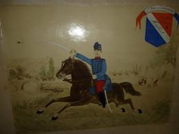 IMAGE COLLEE SUR CARTON. CAVALIER A CHEVAL 1er REGIMENT CHASSEURS 2ème Escadron 2ème PELOTON . CLASSE 1901 - Uniformes