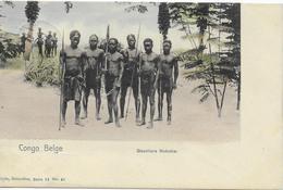 1 CPA 1907 Congo Belge Circulé Boma - Bruxelles - Guerriers Mobeka - Nels S14 N° 41 - Africa
