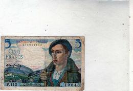 Billet De 5 Francs Berger - Le 23-12-1943 En T T B- - 1871-1952 Circulated During XXth