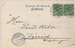 Offenbach Postkarte Nach Zürich 1900 Kaiser Friedrich Quelle Natron Lithion - Deutschland