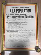 Affiche 65ème Anniversaire Armistice, Guerre 1914 1918, Commune Et Entité Erquelinnes, Messe Et Cortège - 1914-18