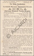 Doodsprentje Zuster/Soeur Adela /Elisabeth Vanden Berghe °1875 Werken †1942 Harelbeke (B192) - Obituary Notices
