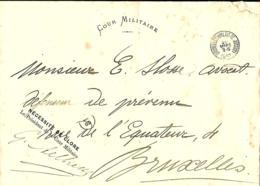 Belgique. Franchise  Bruxelles, Palais De Justice > Bruxelles 1893   Cour Militaire - Marcophilie