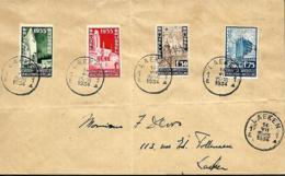 Belgique. TP 386 à 389   L. Laeken > Laeken   1934    Plis - Lettres & Documents