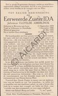 Doodsprentje Zuster/Soeur Ida / Clotilde Amerlinck °1879 Beveren-Leie †1941 Harelbeke (B202) - Obituary Notices
