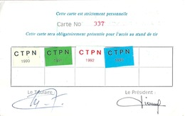 Carte De Tir Au Pistolet Fédération Française De Tir ANTIBES - 1990 à 1993 - Other