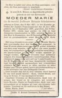 Doodsprentje Zuster/Soeur Marie / Melanie Schelstraete °1857 Ursel/Aalter †1939 Knesselare   (B213) - Obituary Notices