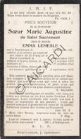 Doodsprentje Zuster/Soeur Marie Augustine / Emma Lemesle °1853 Zandhoven †1929 Borchtlombeek  (B201) - Obituary Notices