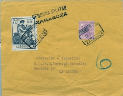 1936 , CERTIFICADO ZARAGOZA - LA LAGUNA  , FRANQUEO CON TIMBRE FISCAL , CENSURA MILITAR , TRÁNSITOS , LLEGADA - 1931-Today: 2nd Rep - ... Juan Carlos I