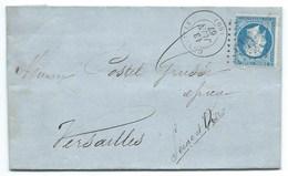 N° 22 BLEU NAPOLEON SUR LETTRE / GENTILLY  POUR VERSAILLES / 1867 GC 1643 FACTURE ENTETE BOUGIES SAVONS CHANDELLES - Marcophilie (Lettres)