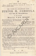 Doodsprentje Zuster/Soeur M.Cordula /Maria Van Hoof °1865 Koningshooikt †1937 Lier   (B215) - Obituary Notices
