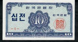 KOREA SOUTH P28 10 JEON 1962 UNC. - Corea Del Sud