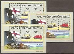 1990 FAROER Faroe Danimarca Denmark BANDIERA - FLAG 3 Foglietti (4) MNH** 3 Souv. Sheets - Blocchi & Foglietti