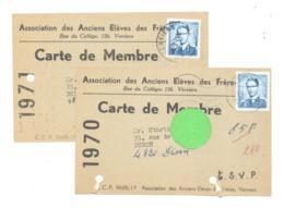 2 Cartes De Membre - Association Des Anciens Elèves Des Frères De Verviers  - Ecole St-Michel 1970 Et 71 (van 2) - Ecoles
