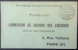 CP Comité De Secours Des ARDENNES PRISONNIER DE GUERRE Camp De ELLWANGEN Janv 1918 Accusé-réception COLIS - Marcophilie (Lettres)