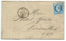 N° 22 BLEU NAPOLEON SUR LETTRE / NANTES POUR VERSAILLES / 1865 GC 2602 / FACTURE SELS - Marcophilie (Lettres)