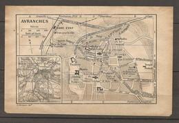 CARTE TOPOGRAPHIQUE 1924 AVRANCHES MANCHE (50) GARE ETAT HALLES JARDIN DES PLANTES TRAM NORMANDIE - Cartes Topographiques