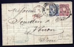 LETTRE ALSACE-LORRAINE OCCUPÉE- MÜLHAUSEN POUR VOIRON- TIMBRES EMPIRE N°32-33- CAD TYPE 7- 1875- 3 SCANS + INFO - Poststempel (Briefe)
