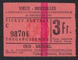 BELGIE * BELGIQUE * TICKET D'ENTREE AU MUSEE EXPOSITION DE BRUXELLES 1935 * EXPO BRUSSEL 1935 * 7 X 5 CM - Tickets D'entrée