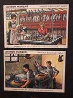 """2 Chromos """"au Bon Marché""""  Fabrication De La Soie - Au Bon Marché"""