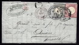 LETTRE ALSACE-LORRAINE OCCUPÉE- RAPPOLTSWEILER POUR ANIANE- TIMBRES EMPIRE N°16-17- CAD TYPE 3- 1873 - 3 SCANS + INFO - Storia Postale
