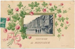 HONFLEUR - Souvenir De... Carte Gauffrée, Trèfles - Honfleur