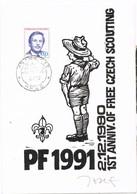 32795. Tarjeta Maxima PRAHA (Checoslovaquia) 1990. Czech Scouting. SCOUT - Lettres & Documents