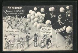 AK Find Du Monde 1910, Weltuntergang, Flucht Mit Ballons, Halley`scher Komet - Astronomy