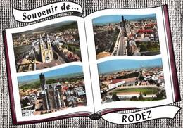 RODEZ - Le Sacré-Coeur - Avenue Victor Hugo - La Cathédrale - Vue Générale Avec Stade - Livre Ouvert - Rodez
