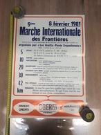 Affiche 1981, Marche Internationale Des Frontières, Gratte-pavés Erquelinnes, Solre Sur Sambre, Pub Banque - Sports