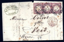 LETTRE ALSACE-LORRAINE OCCUPÉE- ZABERN POUR VOID- 3 TIMBRES EMPIRE N°17- CAD TYPE 4- 1873- 3 SCANS + INFO - Marcophilie (Lettres)