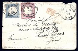 LETTRE ALSACE-LORRAINE OCCUPÉE- SCHILTIGHEIM POUR PASSY- TIMBRES EMPIRE N°16-17- CAD TYPE 5- 1874 - 2 SCANS + INFO - Storia Postale