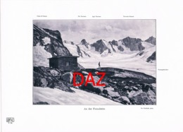 689 Kuhfahl: Fornohütte Bergsteiger Hütte Alpenverein Berghütte Kunstblatt Druck 1906!! - Unclassified