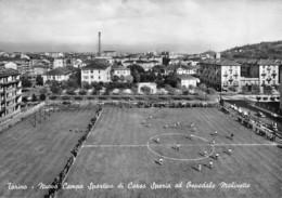 """3816 """" TORINO-NUOVO CAMPO SPORTIVO DI CORSO SPEZIA ED OSPEDALE MOLINETTE """" ANIMATA CART. POST. OR. NON SPED. - Stadiums & Sporting Infrastructures"""