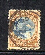 APR1061 - NEW NUOVA ZELANDA 1899 , 4 P. Usato Yvert 85 Senza Filigrana - 1855-1907 Colonia Britannica