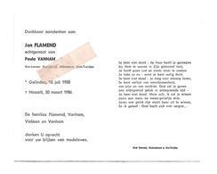 D 757. JAN FLAMEND  Echtg. P. Vanham - Ere-Leraar K.A. ST-TRUIDEN - °GELINDEN 1900 / +HASSELT 1986 - Images Religieuses