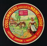 """étiquette Fromage  Coulommiers Fabriqué En Maine Et Loire Laiterie Samson  à Maulevrier 40%mg """"vaches, Fermiere"""" - Fromage"""
