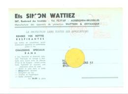Carte Pré Imprimée Ets SIMON WATTIEZ , Manufacture Des Appareils De Protection à AUDERGHEM En 1957 (van 2) - Marchands