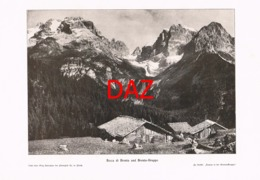 700 Bocca Di Brenta Gebirge Almhütte Druck 1901 !! - Unclassified