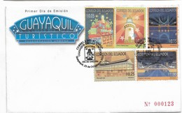 ECUADOR 2007 GUAYAQUIL CITY TOURISM FAMOUS PLACES 5 VALUES ON FIRST DAY COVER - Ecuador